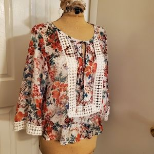 Black Rainn bright floral sheer top size M EUC